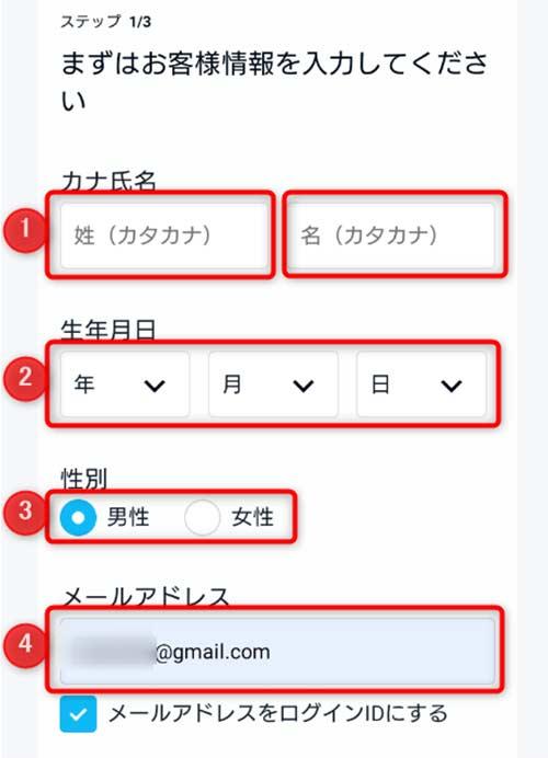 氏名・生年月日・性別・メールアドレスを入力