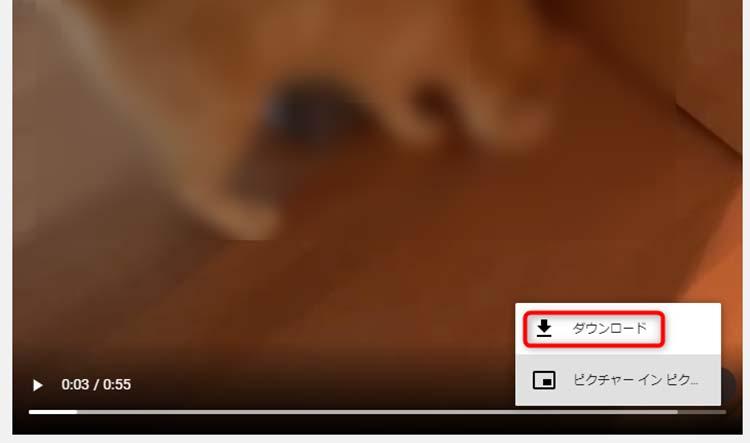 ダウンロードをクリックで、動画を保存