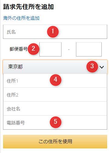 1:氏名を入力、2:郵便番号を入力、3:タップして都道府県を選択、4:住所1以降を入力、5:電話番号を入力